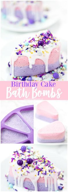 DIY Cake Bath Bomb – how to make birthday cake bath bombs with soap icing and sprinkles.