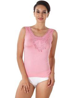 Shyle Pink Tank top Lace Emblished Lounge Wear