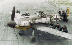 Messerschmitt Bf-109 G6R6 5.Jagdgeschwader 2 (Schwarze 12) WNr 27083 DP+JC of pilot Unteroffizier Heinz Hünig at the Aèrodrome de Poix-en-Picardie in France. 2 October 1943.