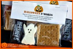 DIY  Recipes: Halloween Ghost Peep S'mores ~ Includes free printable tag! #diy #recipe #halloween #ghost #peep #smores #free #printable