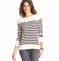 Striped Long Sleeve Cotton Tee - The ultimate boatneck boasts skinny stripes and a tomboy cute attitude – in effortlessly soft cotton. Banded neckline. Long sleeves.