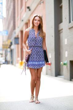 blue and white dress, sandals | Hemingway  Hepburn