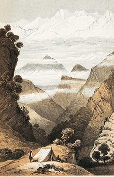 Campsite in the Himalayas, from Joseph Hooker, Himalayan Journals, 1854
