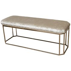 Milo Baughman Style Chrome and Upholstered Bench | From a unique collection of antique and modern benches at https://www.1stdibs.com/furniture/seating/benches/