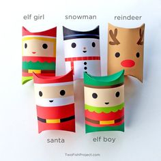 Set of 5 DIY Printable Treat Boxes / Pillow Boxes: Santa, Elf Boy, Elf Girl, Reindeer and Snowman. Christmas Party Favors, Christmas Gift Box, Christmas Treats, Diy And Crafts, Crafts For Kids, Paper Crafts, Frosty The Snowmen, Pillow Box, Toy Craft