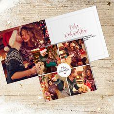 Weihnachtskarte 821 quadratisch mit Platz für eigene Fotos Polaroid Film, Photos, Xmas Cards, Sterne