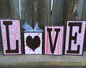 Items similar to Love Valentine Wood Blocks on Etsy