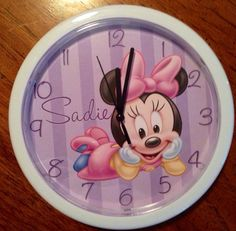Personalized Minnie Mouse Wall Clock on Etsy, $19.99