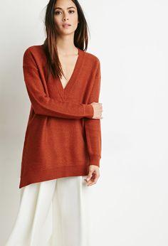 Contemporary Oversized V-Neck Sweater