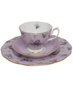 Royal Albert lilac lane china teacup...have a set of these dishes but have never seen it with the lavender background before!  <3