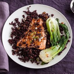 Gingered Salmon Over Black Rice with Bok Choy Recipe. pacific salmon, please! no such thing as atlantic salmon. if bok choy is in season, i'm making this Healthy Salmon Recipes, Clean Eating Recipes, Seafood Recipes, Healthy Eating, Healthy Food, Salmon Recepies, Vegan Recepies, Kale Recipes, Eating Clean