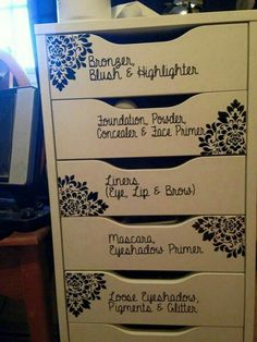 Write decoratively on drawers or use command strips with laminated tags.