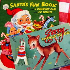 Vintage Christmas Activity Books - I always got one of these for Christmas and sometimes I would get a Bedtime Story Book along with it.