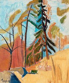 Motiv från Saltsjöbaden by IsaacGrünewald Paintings I Love, Tree Paintings, Group Of Seven, Autumn Art, Global Art, Henri Matisse, Kirchen, Tree Art, Art Market