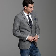 Calvin Klein Grey Windowpane Slim-Fit Sport Coat - Blazers & Sport