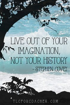 Live out of your imagination, not your history - Stephen Covey quote https://www.tlcforcoaches.com/quotes/