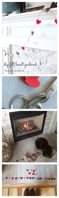 diy valentine's day felt heart garland via the inspired room