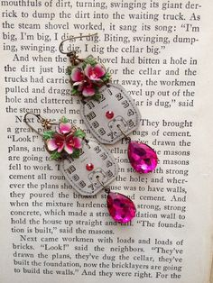 Fuchsia Blooms....For your consideration is a pair of elegant earrings made from matching Elgin watch faces, vintage fuchsia pink Austrian