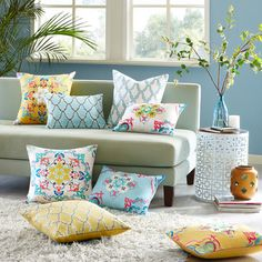 @Overstock - Intelligent Design Cotton Canvas Medallion Embroidered Decorative Pillow - Multiple Options - Give the room a fresh modern update with this cotton canvas decorative pillow. The solid color base is made from high quality canvas while thick embroidery covers the face with pops of pink, teal, yellow, white and blue in an extensive medallion ...