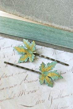 woodland leaf by tiedupmemories on Etsy Fall Accessories, Hair Pins, Hair Makeup, Etsy Seller, Jewelry Design, Leaves, Rustic, Veils, Antiques