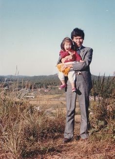 When I was young. With father on the cemetery mountain on a traditional holiday.