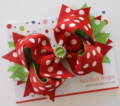 Extra Large Christmas Hairbow, Twisted Boutique Bow, Stacked Hairbow, Red Green White Polka Dot on Etsy, $10.50