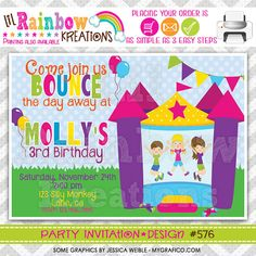 576: DIY  Bounce House Fun 6 Party Invitation Or Thank You