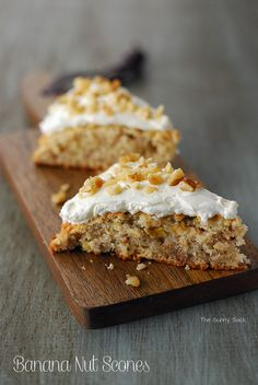 Banana Nut Scones: These low sugar scones are perfect for breakfast when paired with a cup of coffee!