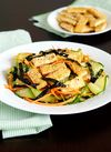 Pan fried tofu with zucchini noodles