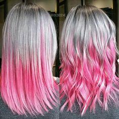 Silver and Pink Ombré Hair - Modern Hair Color Pink, Cool Hair Color, Pink Hair, Hair Colours, White Ombre Hair, Silver Ombre Hair, Medium Hair Styles, Long Hair Styles, Neon Hair