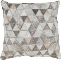 """Trail Beige Gray Ivory Poly Leather Throw Pillow - 20""""x20""""x5"""""""