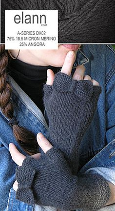 Knitting Pattern Name: Fingerless Mitts with a Bow Pattern by: Elann