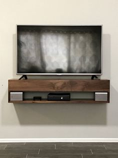 Modern Design Floating TV Stand For Clutter Free Your Room. Curved Round Floating TV Console The Curve Mocha . Home Design Ideas Rustic Tv Console, Rustic Shelves, Console Table, Tv Stand Bookshelf, Bookshelf Design, Shelves Under Tv, Corner Shelves, Pottery Barn, Bedroom Tv Stand