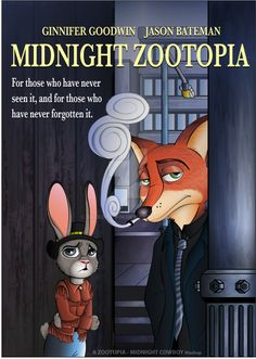 Midnight Zootopia Poster by JackOrJohn.deviantart.com on @DeviantArt #classic #cowboy #crossover #disney #film #hopps #judy #mashup #midnight #movie #nick #poster #walt #wilde #zootopia My most recent mashup-poster, and the very first I've done entirely in Illustrator.  What does the recent Disney movie have in common with the Oscar-winning classic from 1969?