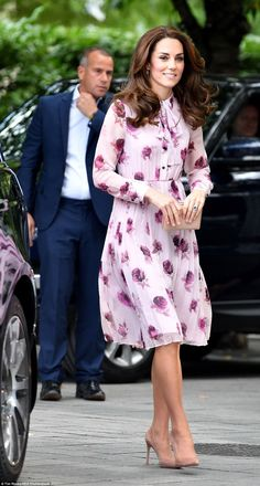 The Duchess has been wearing more high end designers recently, including today's £428 rose print creation from Kate Spade New York