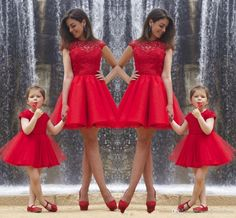 2015 Red Lace Mother And Daughter Party Dresses Crew Cap Sleeve Short Prom Dresses Mom And Baby Formal Dresses Family Dresses From Sexypromdress, $62.83 | Dhgate.Com