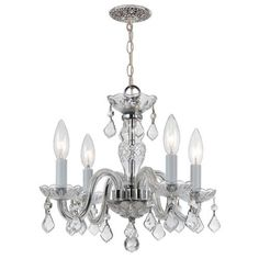 Traditional Crystal Polished Chrome 15-Inch Four-Light Mini Chandelier