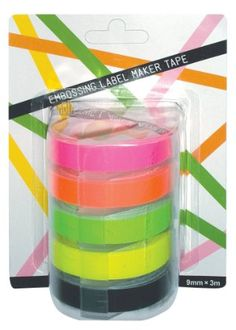 Brave Motex Refill Tape Neon Yellow 3 X 9mm For Label Makers Art Supplies