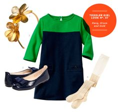 Girl Toddler Outfit: Toddler Girl Inspiration Board #07:  Navy, Green and Gold Outfit from The Kids' Dept.