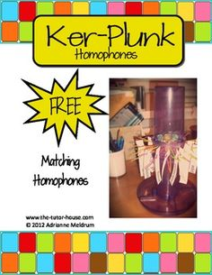 Wake up that tired old Ker-Plunk game by turning it into a homophone matching game!  Students choose a card with a homophone on it and then find it's matching homophone on a Ker-plunk stick.