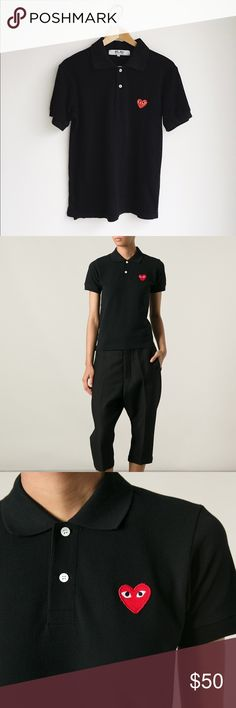 """⚡️SALE!⚡️Auth. Comme des Garçons Play black polo Authentic Comme des Garcons Play polo with the iconic heart logo! Excellent condition! 18.5"""" at bust and 25"""" long. Comme des Garcons Tops"""