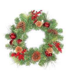 Holiday Inspirations  Red Berry Bell And Pinecone Pine Wreath : Seasonal  Floral : Floral :