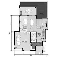 plan c-127 Two Story House Plans, Two Story Homes, Dream House Plans, House Floor Plans, Evolution Architecture, Concept Architecture, L Shaped House Plans, Garage Double, Construction