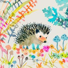 Oopsy Daisy 'Woodland Watercolor - Hedgehog' by Betsy Olmsted Stretched Canvas Art Size: 1 Watercolor Barns, Watercolor Fox, Watercolor Ideas, Watercolor Paintings, Kids Canvas Art, Canvas Wall Art, Classic Framed Art, Hedgehog Art, Sunset Art