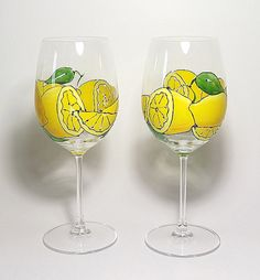 Oh My Lemon White Wine Glass by ArtsyFartsyServeware on Etsy, $12.00