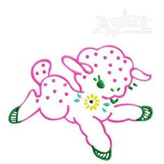 "Easter Lamb Embroidery Design. No fill quick stitch. Size 2.77"" x 2.44"""