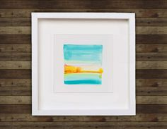 abstract modern watercolor - vibrant turquoise and orange landscape - original watercolor. $85.00, via Etsy.