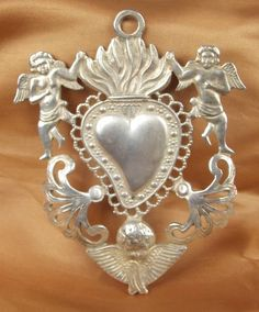 Divine Antique French Ex Voto With Flaming Heart & Angels, Early 1900 s - French Country Decorating, Vintage Farmhouse, Sacred Heart, Cupid, Three Dimensional, French Vintage, French Antiques, Antique Silver, Angels