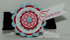 Lacy & Lovely Favor-Set(s):Lacy & Lovely Paper:Whisper White, Pool Party, Real Red, Brights dsp paper pack Ink:Pool Party, Real Red Other:2 3/8″ Scallop Circle Punch, 1 3/4″ Circle Punch, 1 1/4″ Scallop Circle Punch, 1″ Circle Punch, Floral Framelits, Incolor Designer Printed Brads, Dimensionals