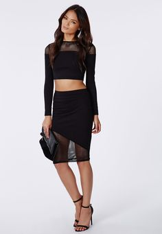 Missguided - Amily Fishnet Insert Midi Skirt Black